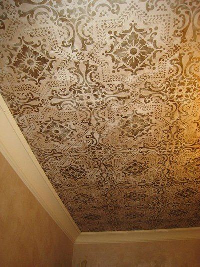 California Based Stencil Artist Joan Angwin Stenciled This Stylish Ceiling In Bronzes With The Help Of Our Lisboa Tile