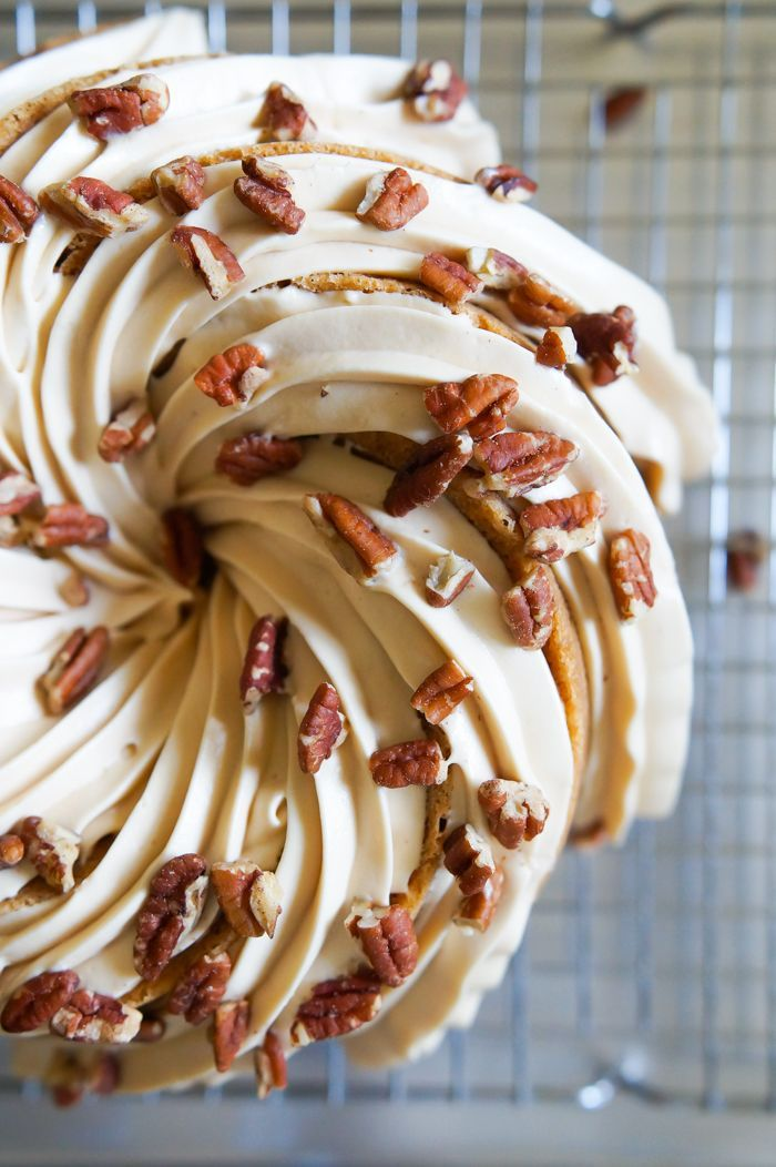 Carrot Bundt Cake with Salted Caramel Cream Cheese Frosting #creamcheeserecipes