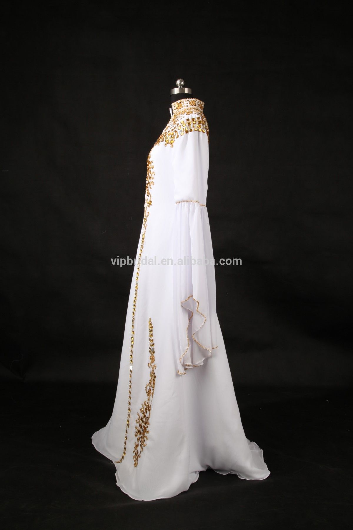 L real picture white long sleeve beaded crystal kaftan muslim