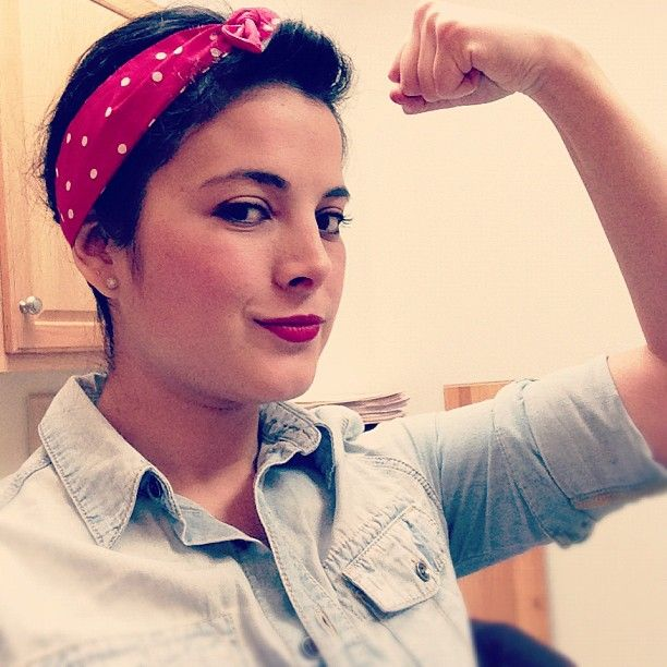 fertheloveofwriting's photo - she's wearing her fayette headband as the perfection addition to her rosie the riveter costume!