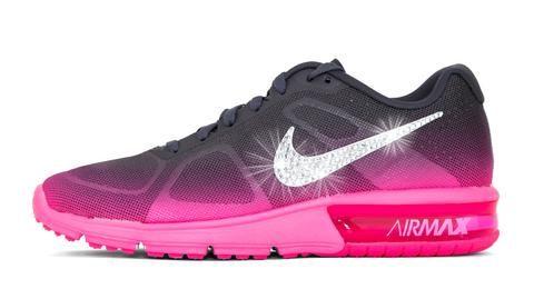 premium selection 87594 86c1f Nike Air Max Sequent + Swarovski Crystal Swoosh - Gray Pink