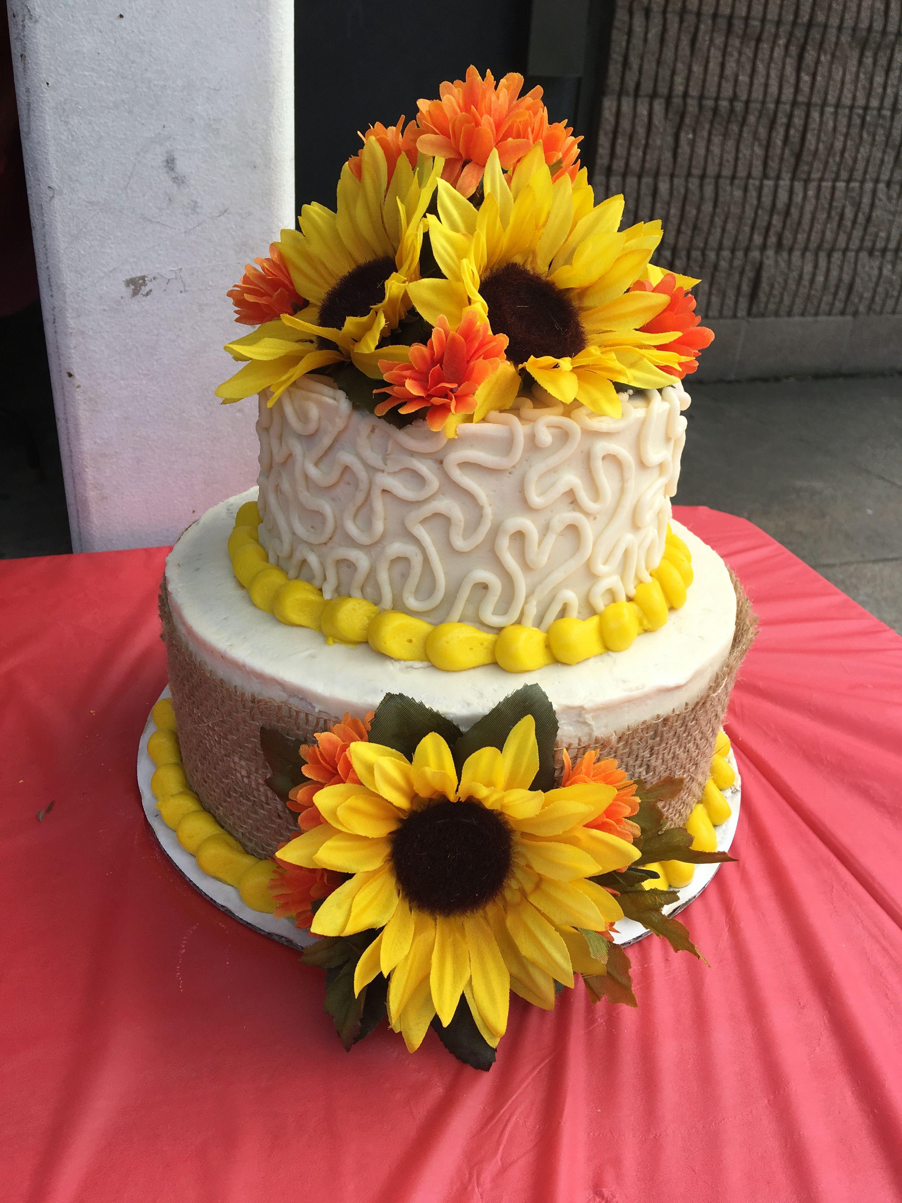 Sunflower two tier cake! | Tire cake, Cake, Cookie cake