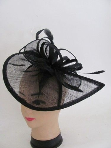 Fascinator Formal Dress Black Church Wedding Bridesmaids Kentucky Derby Hat   76b32106009