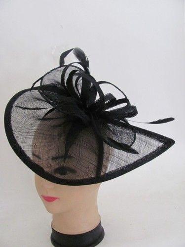 Fascinator Formal Dress Black Church Wedding Bridesmaids Kentucky Derby Hat   35384e63329a