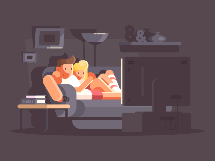 Married Couple Watching Tv Illustration Kit8 Illustration Family Illustration Night Illustration