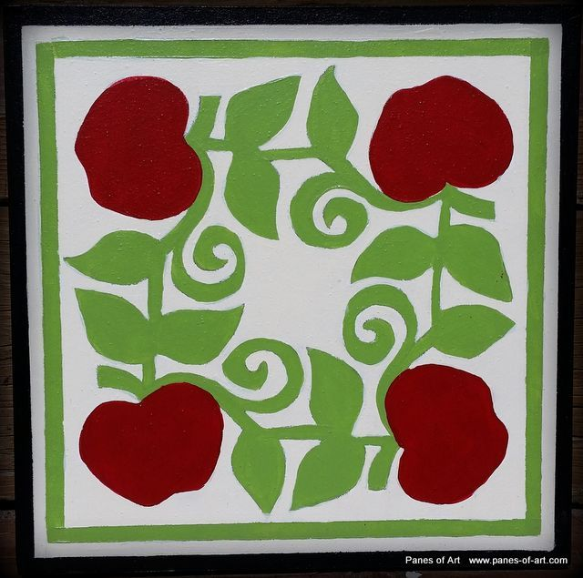 """Apples"" 8""x8"" Mini Barn Quilt View details at:  www.panes-of-art.com"