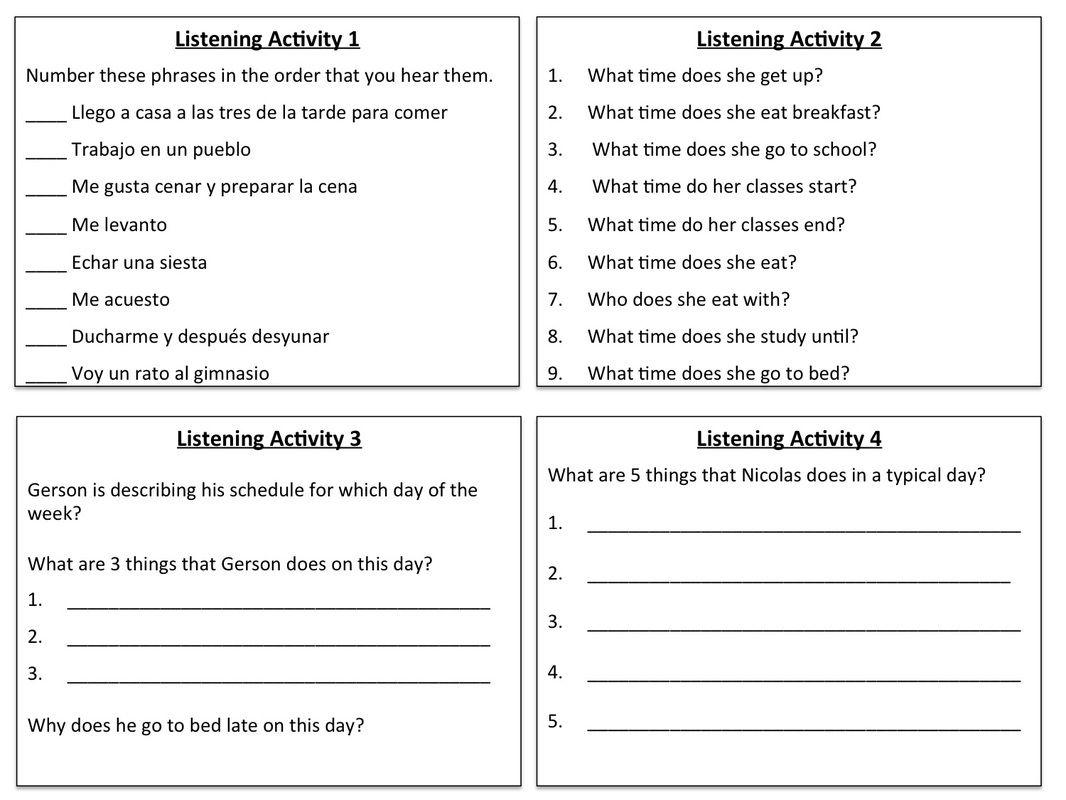 Listening Activity Como Es Un Dia Tipico Teacher Blogs Foreign Language Classroom Classroom Language
