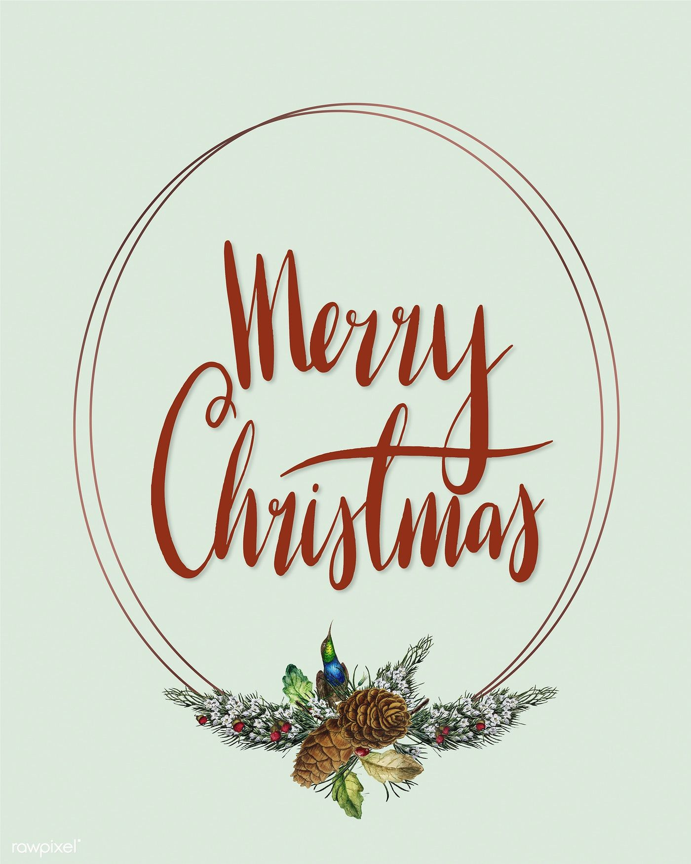 Merry Christmas Card Vector Free Image By Rawpixel Com