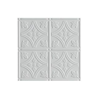 Fasade Traditional Style 1 Gloss White 2 Ft X 4 Ft Glue Up Ceiling Tile Gloss White Sample Plastic Ceiling Tiles Ceiling Tiles