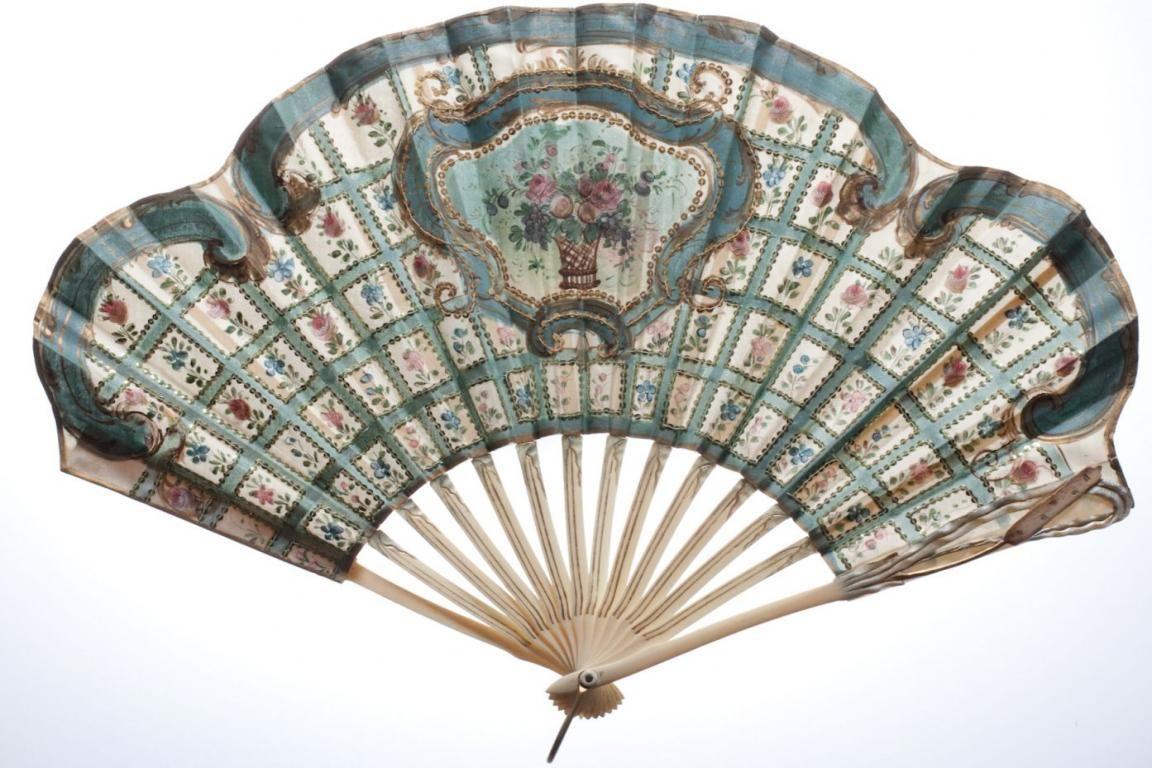 Squared fan, circa 1905 - Catalogue Art Nouveau fans - Fan d'éventails