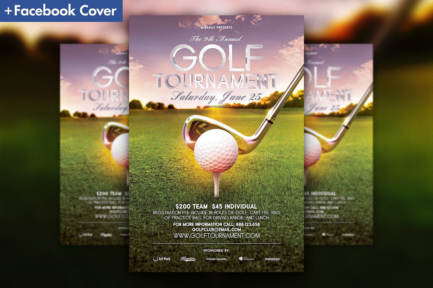 Golf Tournament Flyer Template Included Cover Facebook Timeline