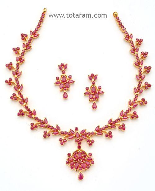 c9ac7298b0f2e 22 Karat Gold Rubies Necklace & Drop Earrings Set - SET258 - Indian ...