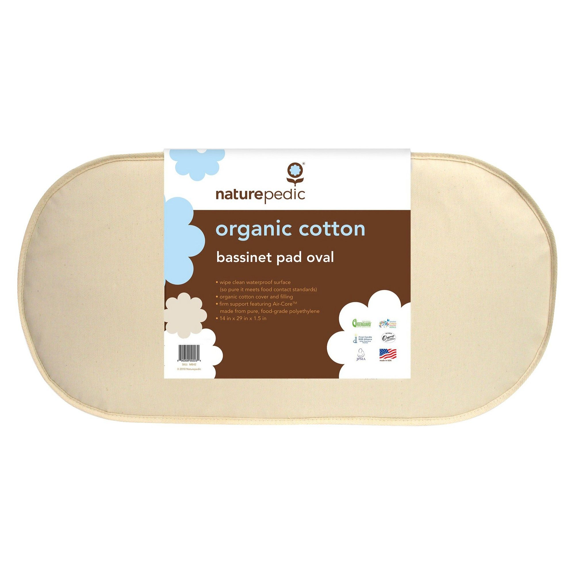 naturepedic organic cotton oval bassinet mattress organic cotton