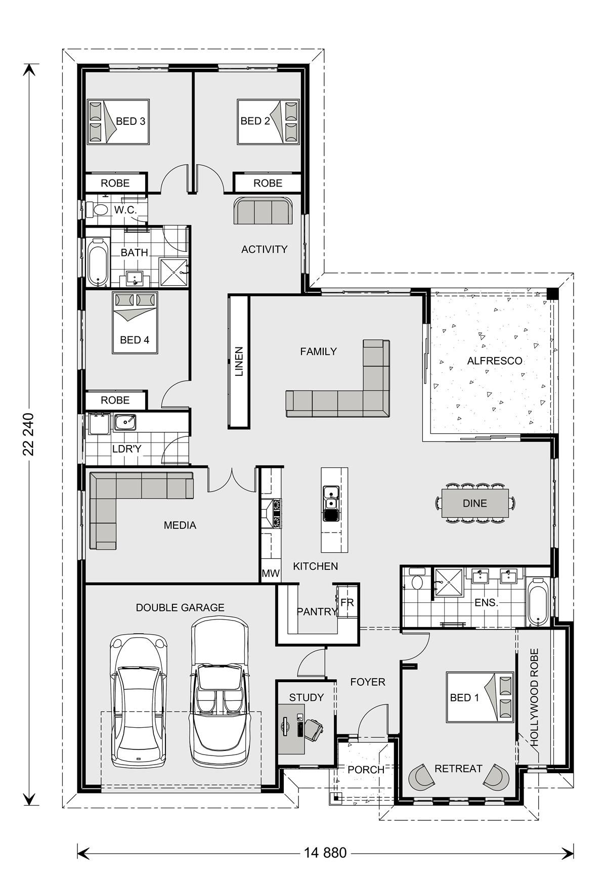 Coolum 225 Our Designs Hunter Valley Builder Gj Gardner Homes Hunter Valley 4 Bedroom House Plans Dream House Plans New House Plans