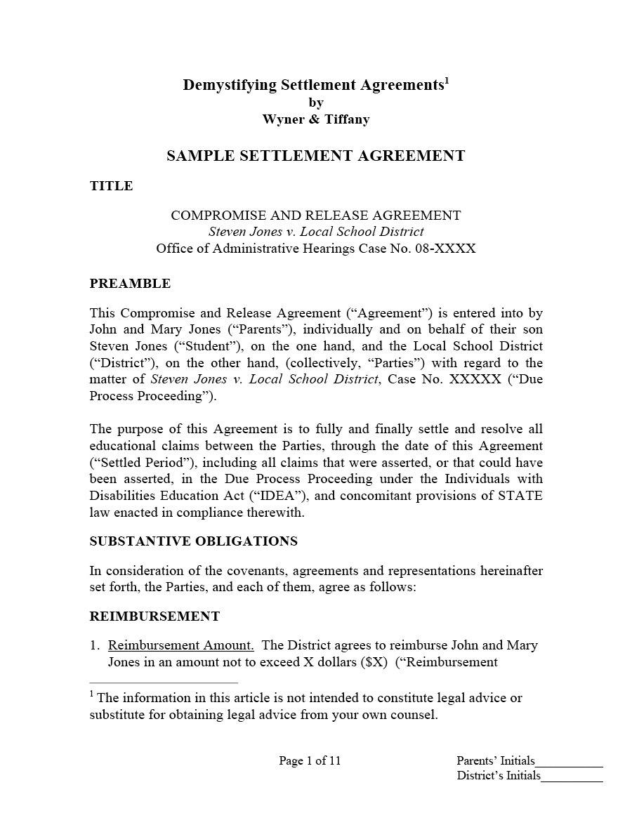 Free Settlement Agreement Templates Divorcedebtemployment -8836
