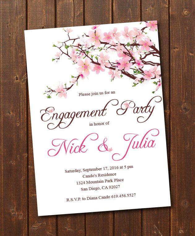 Printable Cherry Blossom Engagement Invitation E Card Invite