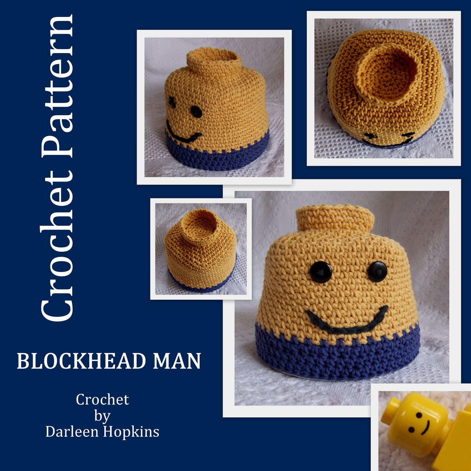 crochet PATTERN Blockhead Man Hat Silly hat for Lego fans, child ...