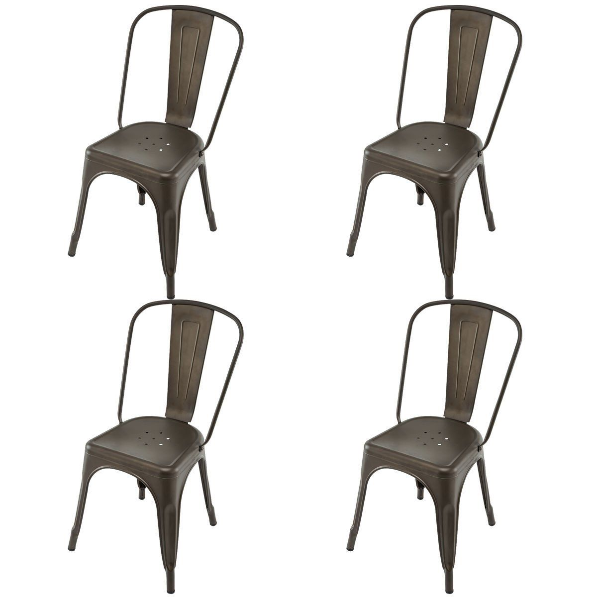 Costway Tolix Style Dining Chairs Metal Industrial Vintage Chic High Back Indoor Outdoor Dining Bistro Cafe Kitchen Side Stackable Chair Set Of 4 Copper Patio Dining Chairs