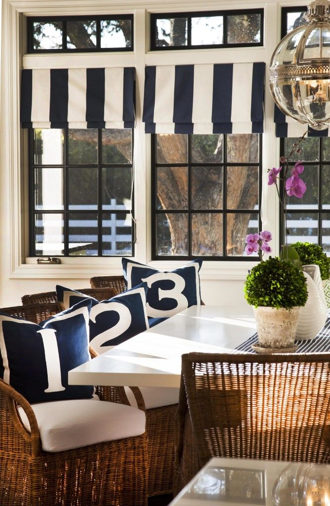 Nautical Inspired Beach House Dining Room Curtains In