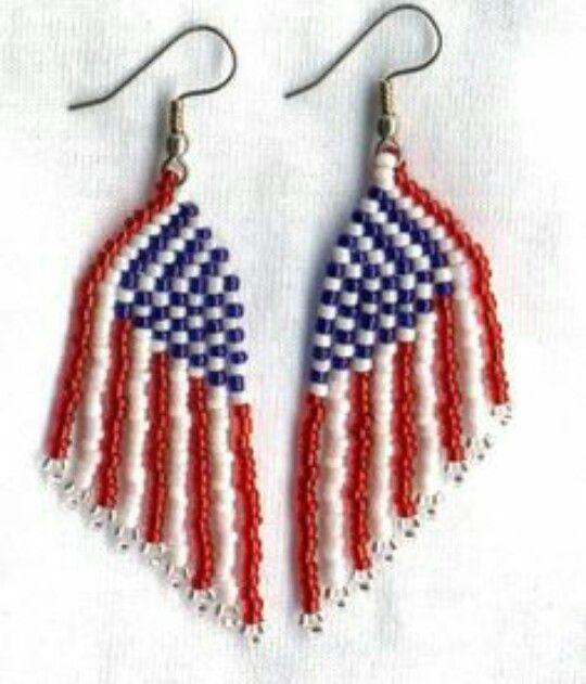American Made Seed Beaded Earrings Ear Art| Patriotic Western Style Traditional Beading | Name: \u201cPatriotic Eagles\u201d Eagle Earrings