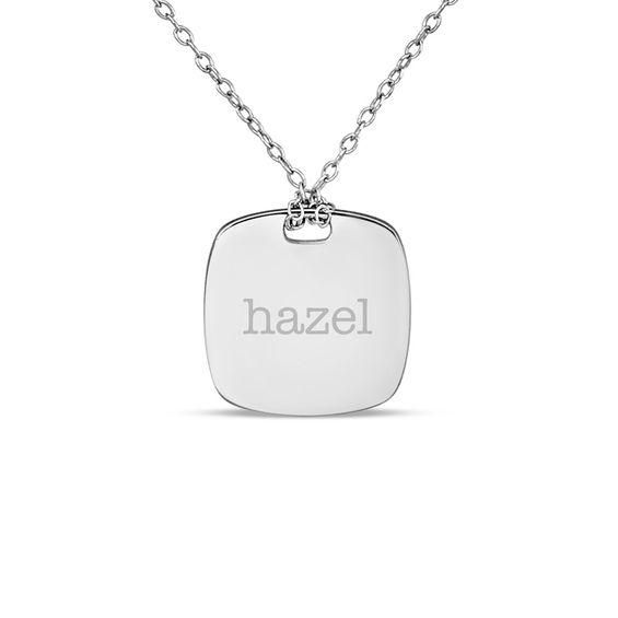 Zales 16.0mm Lowercase Cushion-Shaped Necklace in Sterling Silver (1 Line) VvdBE