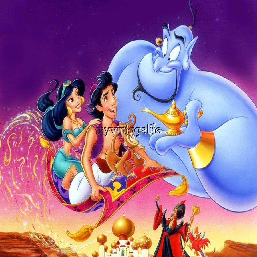 Aladdin Jasmine Genie Flying Carpet 3 Sizes Quilting Fabric Block Kids Movies Best Disney Movies Aladdin Movie