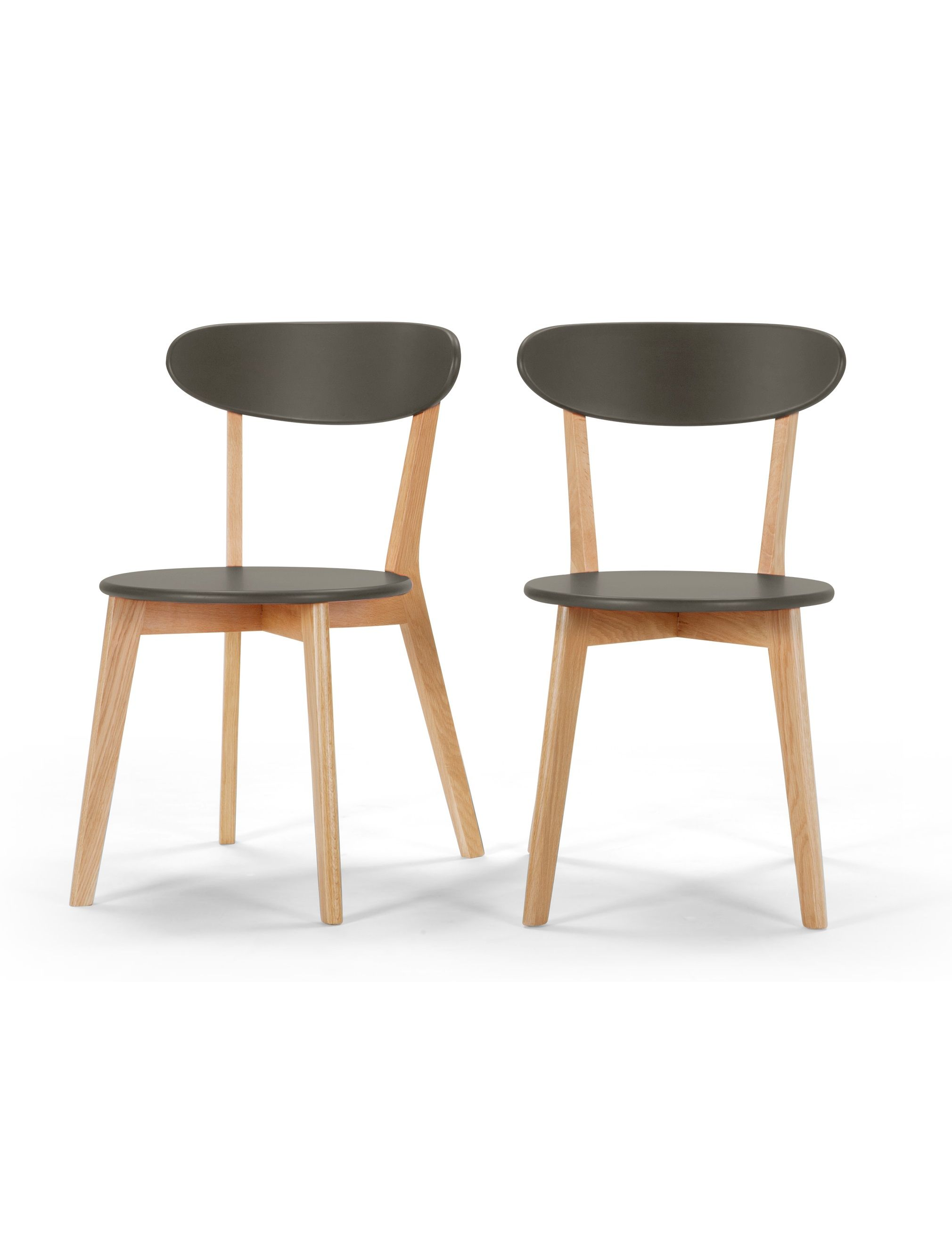 2 Fjord Dining Chairs in Oak and  Grey. £99. MADE.COM