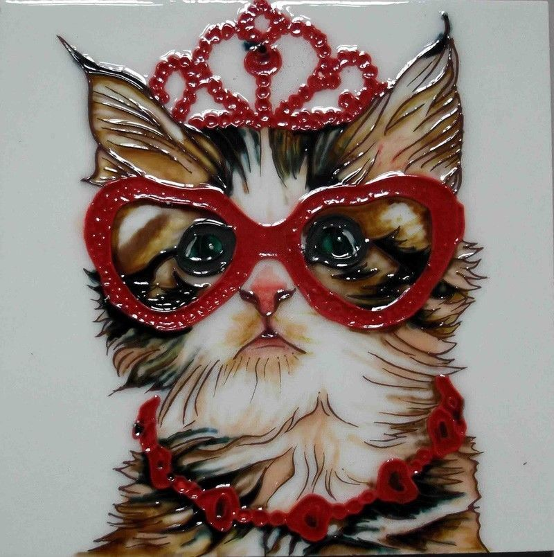 Cat Glasses Hearts Tile Art 8 X8 Tiara Crown Ceramic Decorative Backsplash Cats Tile Art Art Center Decorative Backsplash