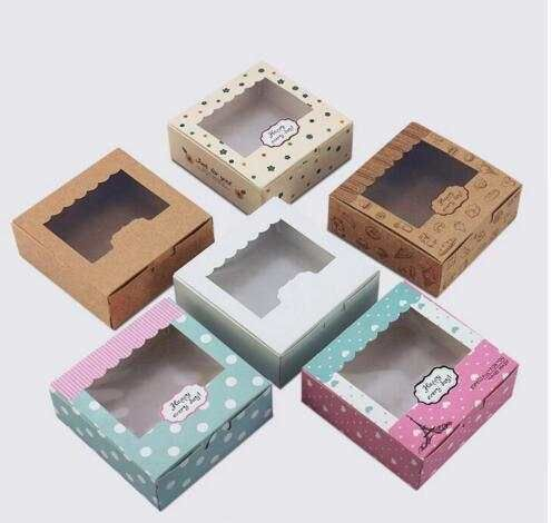 Online Shop 3 sizes 20pcs Kraft paper box for cake macaron kraft box with window paper cake cookies packaging box wedding cake cookies box | Aliexpress Mobile_en title