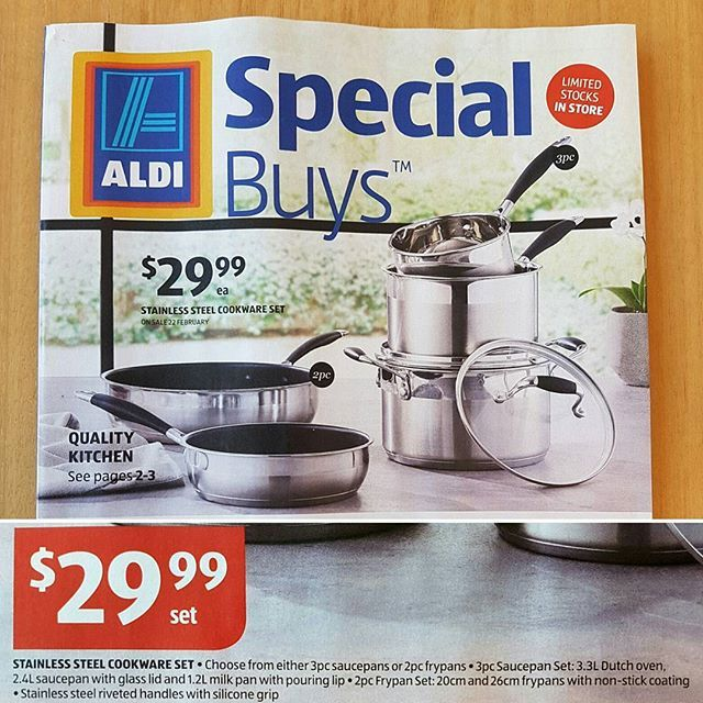 aldi special    stainless steel saucepans frypans sets    2pc 3pc sets aldi special    stainless steel saucepans frypans sets    2pc 3pc      rh   pinterest com