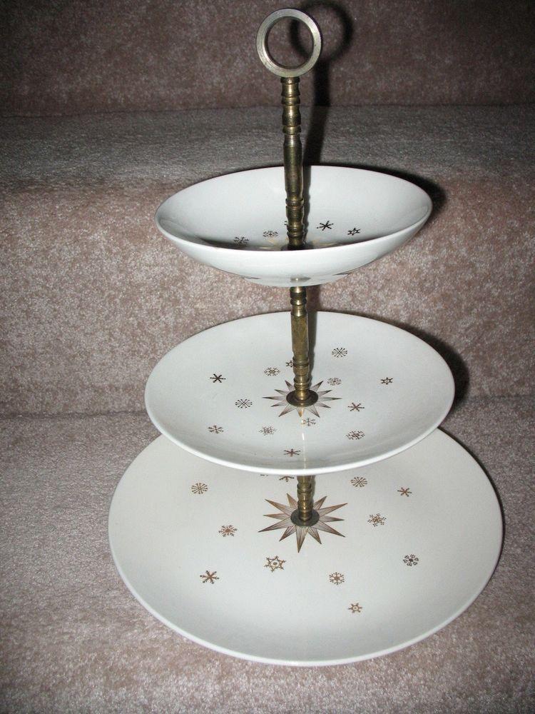 Vintage Gailstyn Golden Stardrift 3 Tiered Serving Tray 973 Tiered Serving Trays Tiered Serving Tray