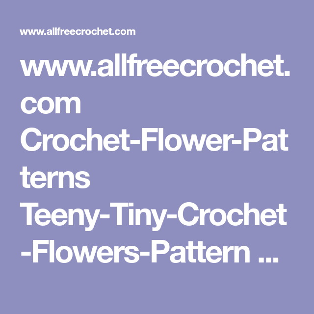 Teeny Tiny Flowers Crochet Flower Patterns Flower Patterns And