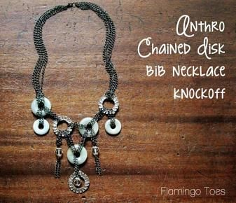 Anthro Chained Disk Bib Necklace Knockoff »Flamingo Toes