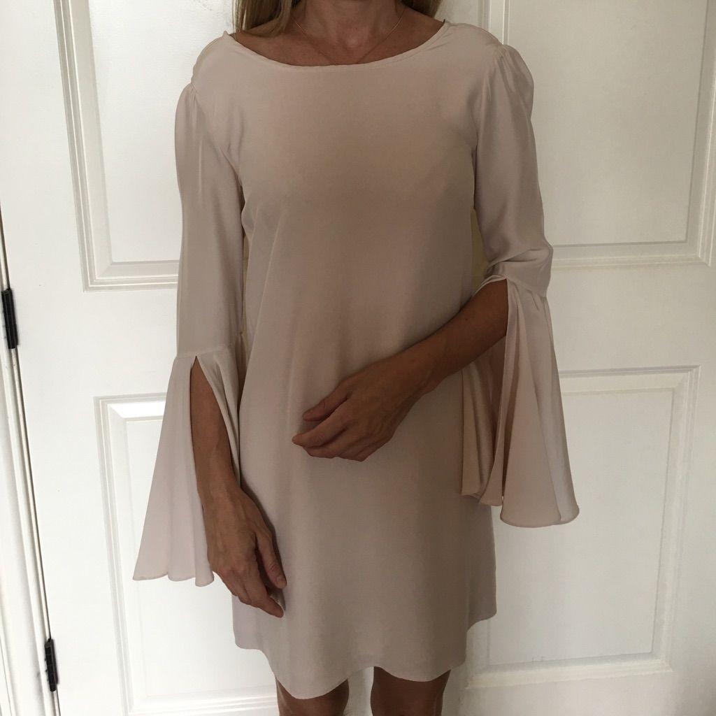 Light pink silk trumpet sleeve mini dress pink silk trumpets and