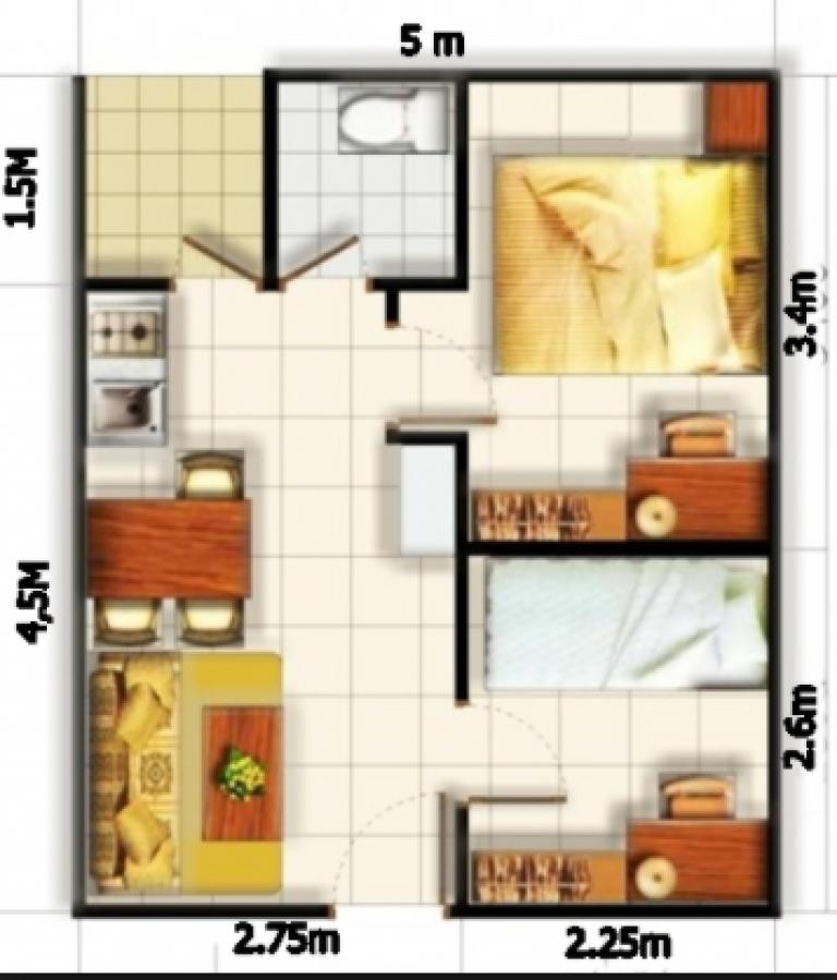 99+ Denah Rumah Minimalis 3 Kamar Tidur Type 36 | Denah ...