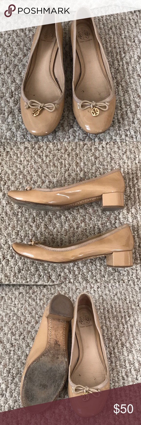 3c3af57af84ca Tory Burch Chelsea Patent Leather Low Heel Pumps Tory Burch Chelsea Low  Heel Pumps Nude Patent Leather Self-fabric bow and gold-tone logo dist at  toe Low ...