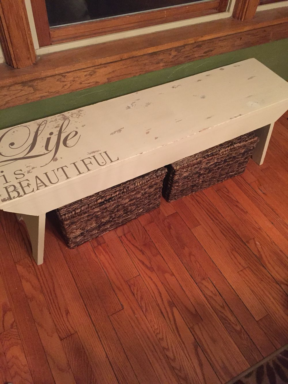 Diy Chalk Paint Bench Stencil Distressed Wood Painted Benches Diy Farmhouse Table Farmhouse Bench