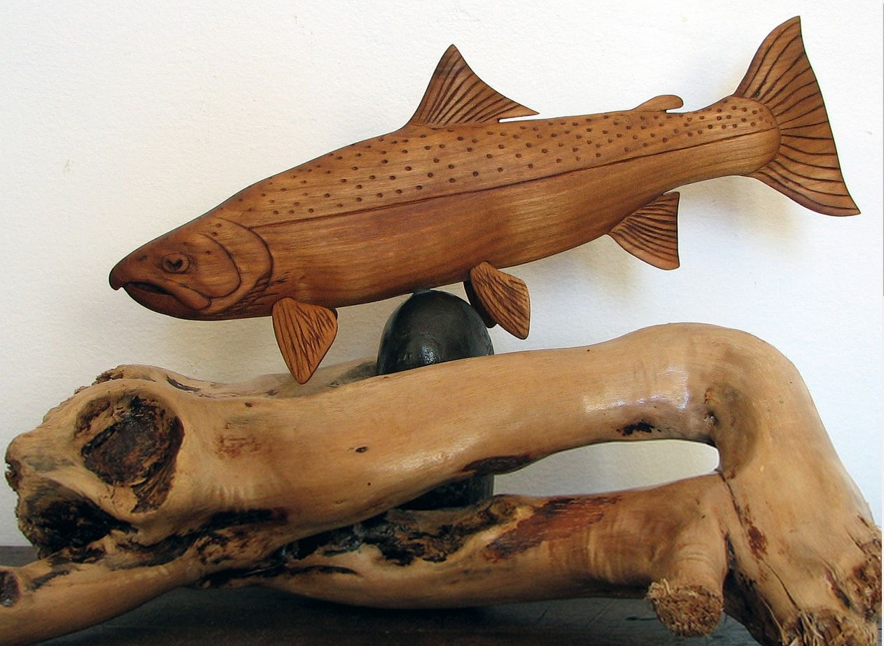 Rainbow trout carved trout fish wood carving wood carving