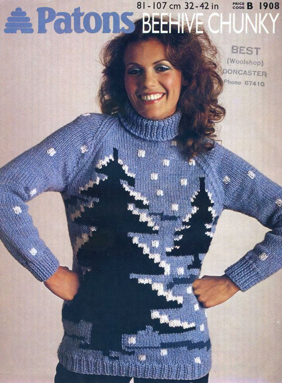 Vintage Christmas Jumper Knitting Pattern Novelty Pdf Instant