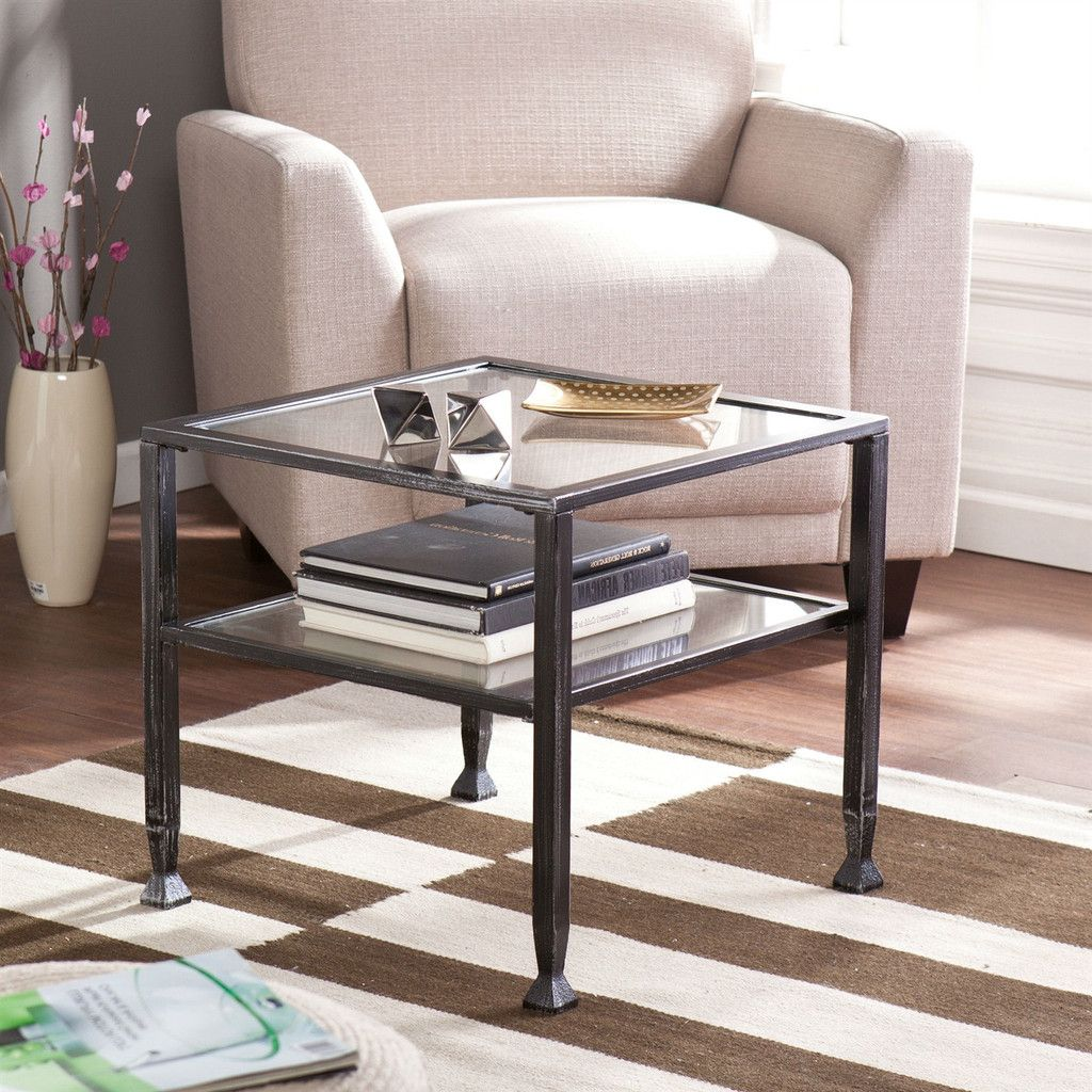 Durable black metal and tempered glass coffee table with