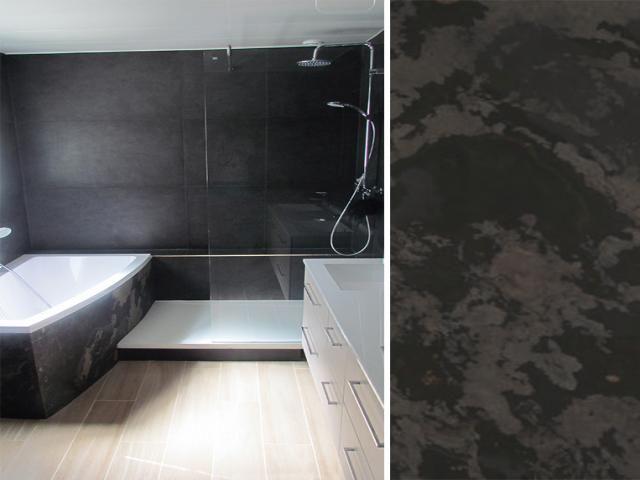 Photos d coration de salle de bain contemporain xxe gris for Salle de bain baignoire d angle et douche italienne