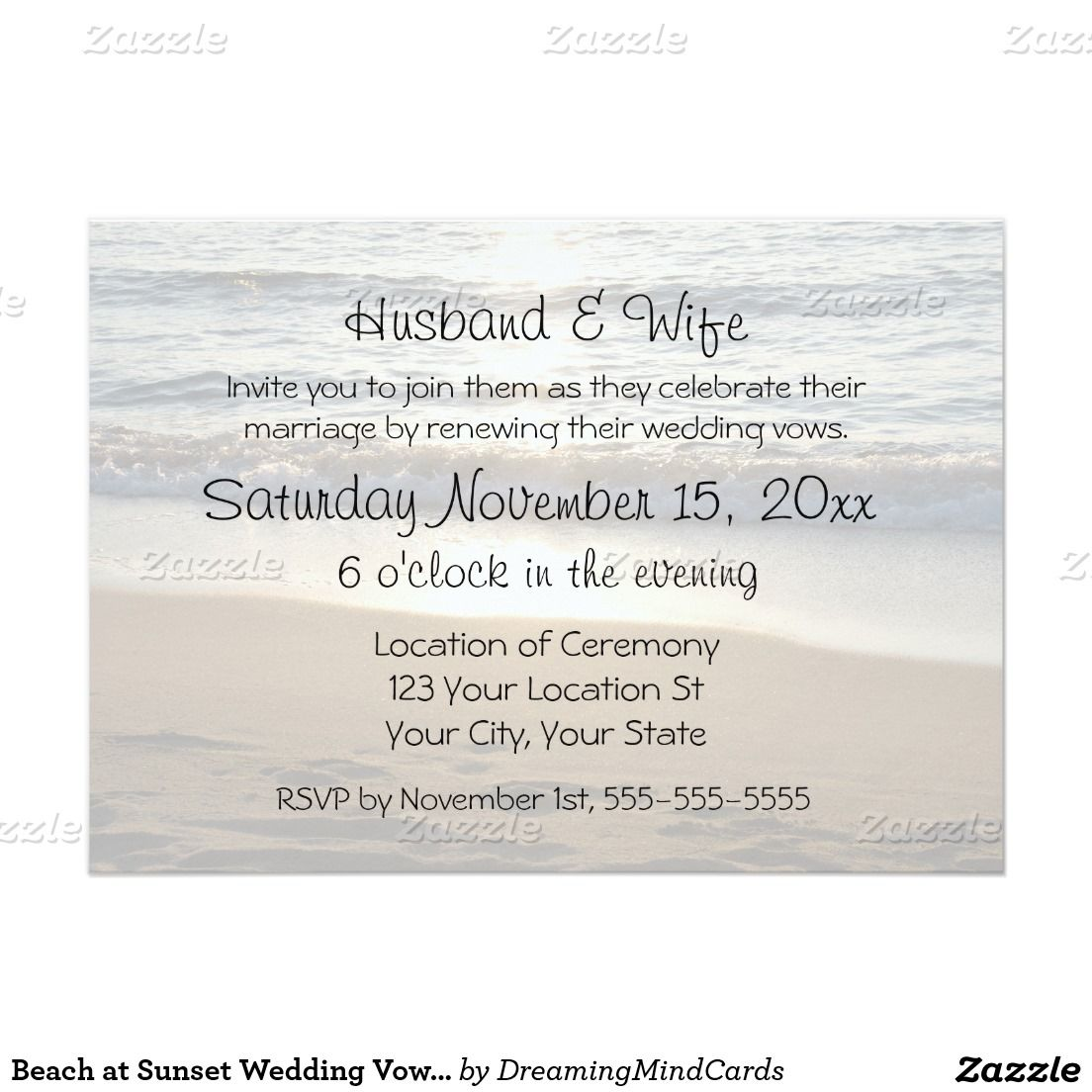Beach At Sunset Wedding Vow Renewal Invitations Vow Renewals