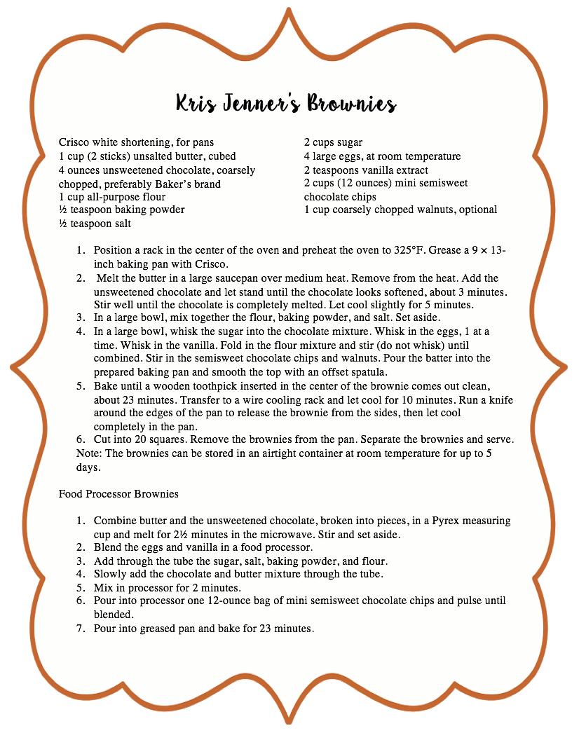 Kris Jenner\'s Brownies Recipe from \