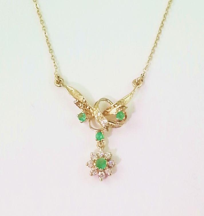 Vintage 18k Gold Emerald Necklace ** 18K Solid Gold *** Natural Emeralds #necklace #emeralds #jewelry