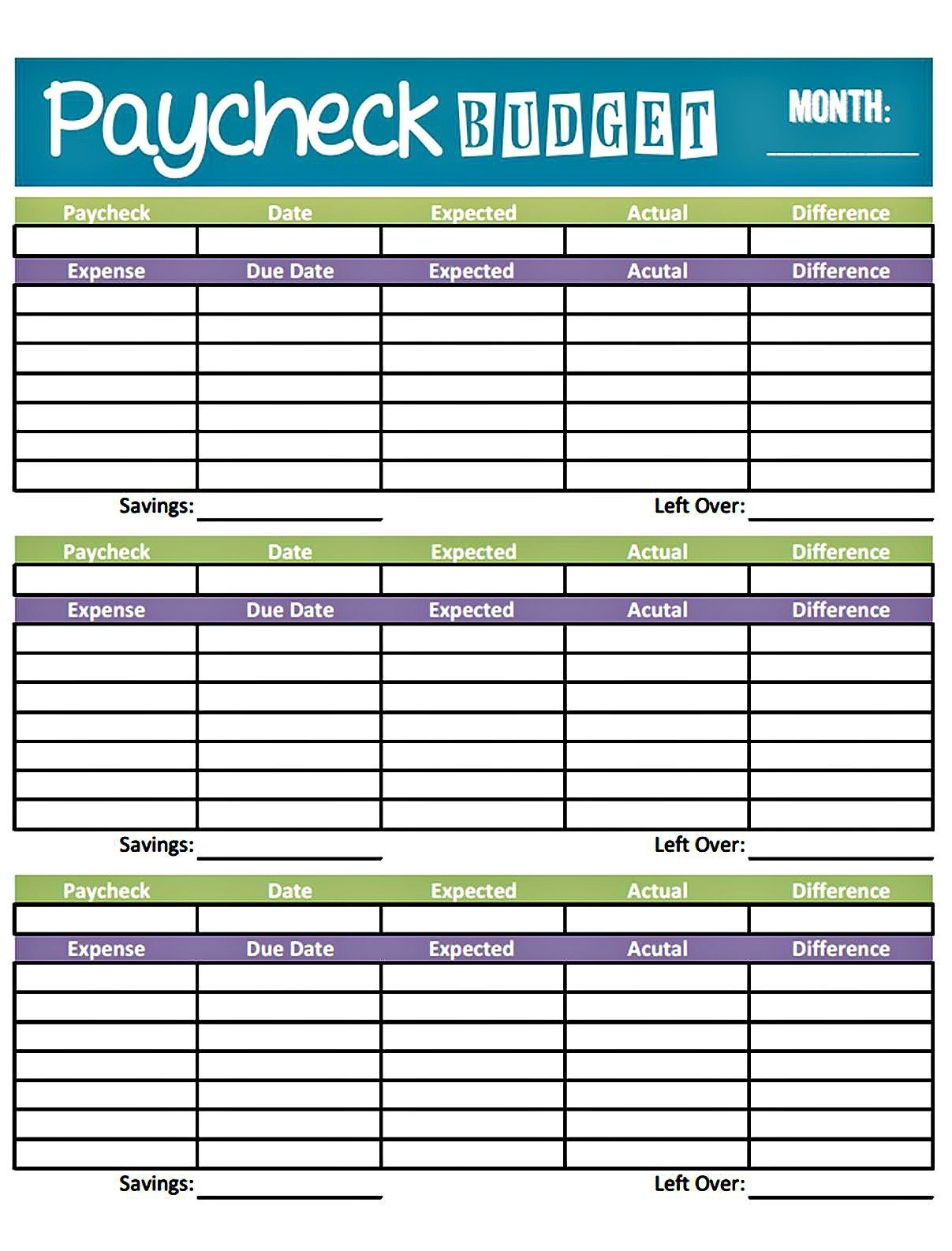 Pay Check Budget Worksheet Template
