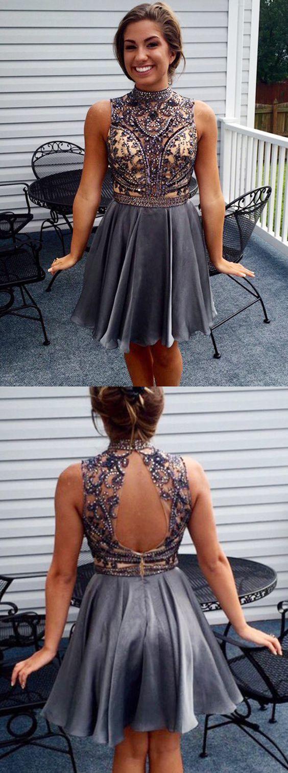 Fashion aline high neck sleeveless open back short homecoming dress