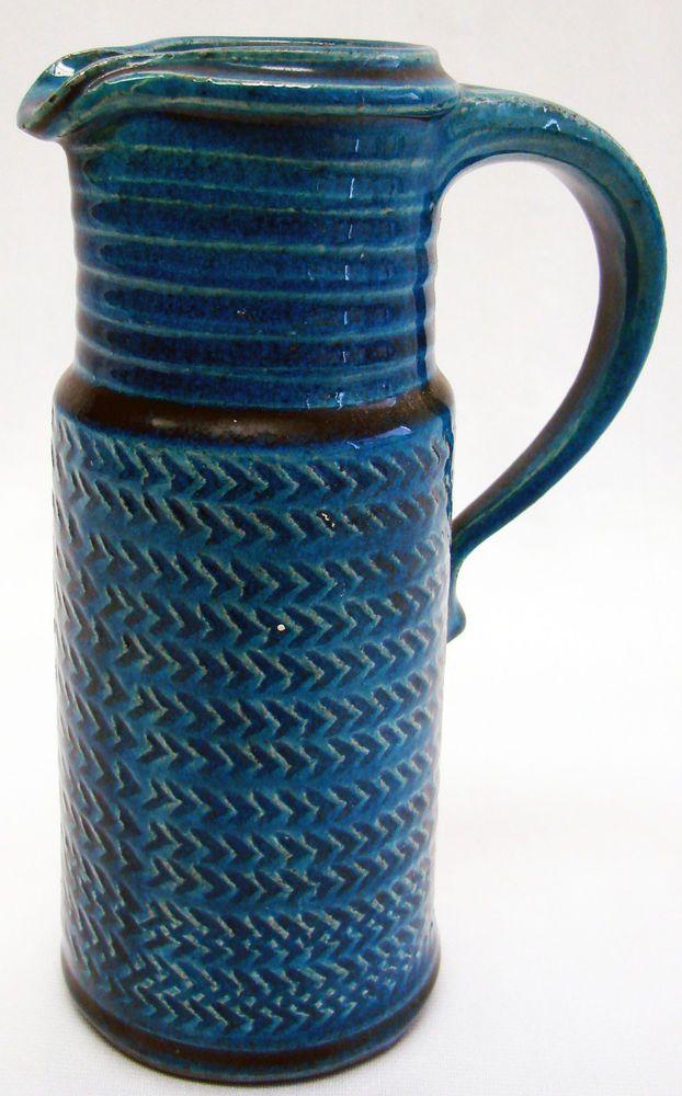 Rare Danish Modern Art Pottery Vase HERMAN KAHLER HAK Mid Century Blue Pitcher
