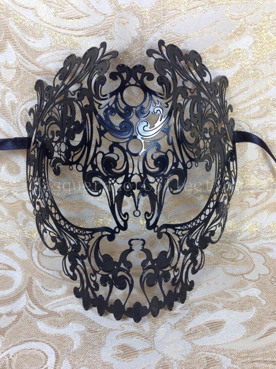 Masquerade Mask Collection - Black Venetian Metal Filigree Skull Halloween Mask