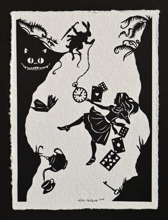 ALICE IN WONDERLAND Papercut - Kaninchenloch - Hand geschnittene Silhouette