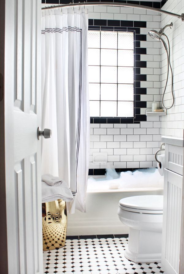 Black White Tile Window In Shower Garden Stool In Small Bathroom Subway Tile Bathroom